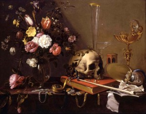 1 Adriaen van Utrecht (1599 - 1652) - Vanitas Still-Life with a Bouquet and a Skull -